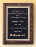 Walnut Stained Piano Finish Plaque with Brass Plate Achievement Awards