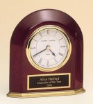 Rosewood Piano Finish Arched Desk Clock Achievement Awards