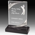 Clear Acrylic Trophy Award with Routed Accents and Black Marble Base Acrylic Awards Trophy