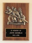Fireman Plaque with Antique Bronze Finish Casting. Award Plaques