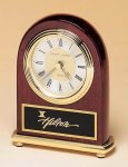 Rosewood Piano Finish Desk Clock on a Brass Base Boss' Gifts