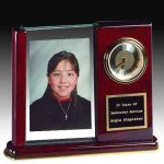 Piano Finish Desk Clock With Photo Holder Boss' Gifts