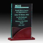 Jade Acrylic Award with Rosweood Base Corporate Acrylic Awards Trophy