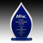 Blue Tinted Flame Corporate Acrylic Awards Trophy