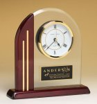 Arched Clock with Rosewood Piano Finish Post and Base Desk Clocks