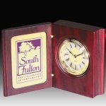 Rosewood Finish Book Style Clock Desk Clocks