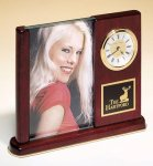 Rosewood Piano Finish Photo Desk Clock Employee Awards