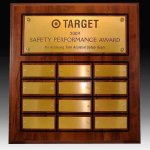 12 Plate Routed Perpetual Plaque Employee Awards
