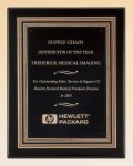 Black Piano Finish Plaque with Gold and Black Embossed Frame Executive Plaques