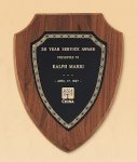 American Walnut Shield Plaque with a Black Brass Plate Executive Plaques