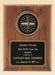 American Walnut Plaque with 4 Engravable Disk Executive Plaques
