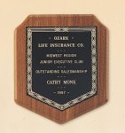 American Walnut Shield Plaque with a Black Brass Plate. Executive Plaques
