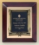 Cherry Finish Wood Frame Plaque with Wreath Executive Plaques