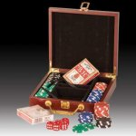 Poker Chips, Cards and Dice  Kit in Rosewood Case Gift Items