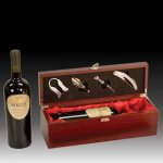 Rosewood Finish Wine Presentation Box with Tools Gifts Personalized