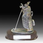 Pewter Finish Golf Bag Trophy Golf Trophies