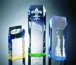 Hexagon Top Tower Acrylic Award Golf Trophies
