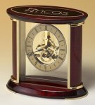 Skeleton Clock with Brass and Rosewood Piano Finish Mantel Clocks