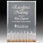 Clear Acrylic Trophy Award with Gold Tint and Routed Accents Sales Awards