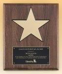 Walnut Stained Piano Finish Plaque with 8 Gold Star Star Plaques
