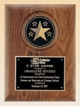 American Walnut Plaque with 5 Star Medallion Star Plaques
